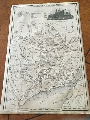 Genuine Original County Map Pigot &co. 1823-8 - Monmouthshire-Rare