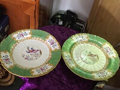 "2 x Antique Minton Green Phoenix Cockatrice 9"" Bird Plates 1910"