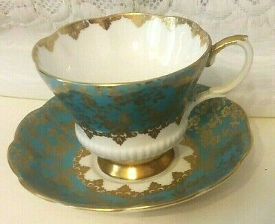 Royal Albert Consort Series Chintz Teal Gold Tea Cup & Saucer England.