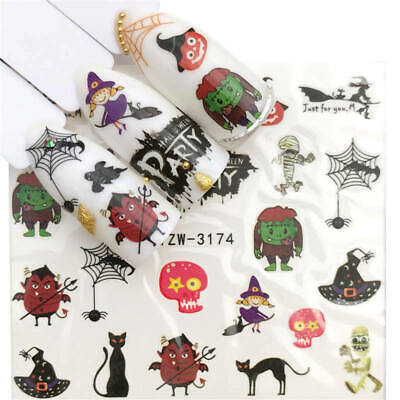Nail Art Stickers Water Decals Transfers Halloween Witch Pumpkin (YZW-3169)
