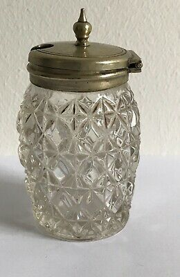 Vintage cut glass mustard pot with metal lid Rd number 35293