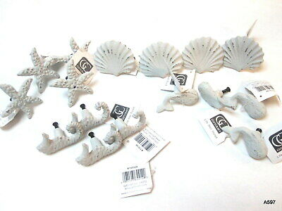 16 Assorted Cast Iron Nautical Aquatic Theme Door Knobs Shell Seahorse Whale