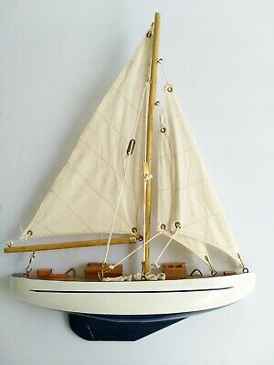 Small Half Hull Sailboat Wooden Hanging Nautical Wall Decor - Assembled - BLEM