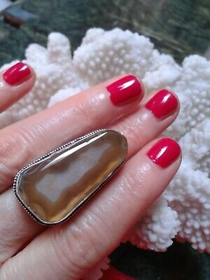 Ring Size 9,5  Gold Solar Agate Natural  Stone  .Silver Handmade Antique Design