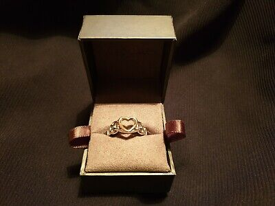 Clogau Welsh Rose Gold & 925 Silver Cariad Love Heart Vine Ring, boxed, VGC