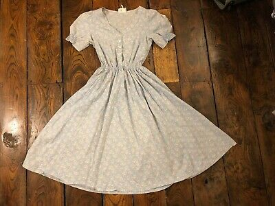 Laura Ashley Vintage Pink And Blue Rose Sprigged Prairie Dress Size 14