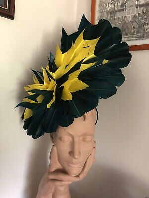 Wendy White Millinery Melbourne Cup Petrol And Yellow  Feather Headpiece