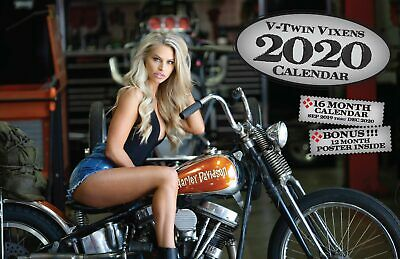2020 V-TWIN VIXENS DELUXE WALL CALENDAR Dream Girls Harley Motorcycle Davidson
