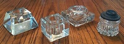 Vintage Antique LOT Of 4 Glass Inkwells ~ Heavy Pyramid Square Scalloped Edge