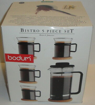 BODUM BISTRO 5-PIECE SET French Coffee Press Clear Glass Vintage Mugs Handle