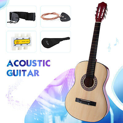 38''Acoustic Guitar Brown Beginners with Case, Strap,Tuner & Pick Steel Strings