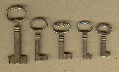 5 Vintage Furniture, Cabinet Skeleton Door Lock, Barrel Keys (A)