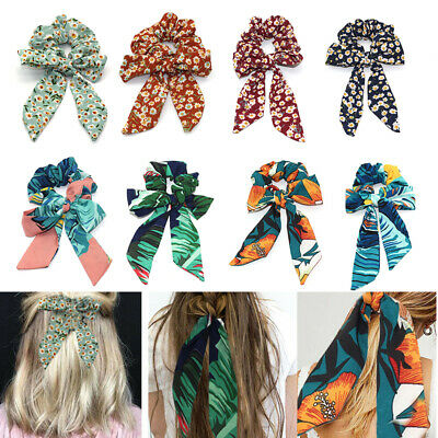 Hair Bands Boho Ribbon Ponytail Hair Rope Scarf Scrunchies Elastic Bow Tie Print