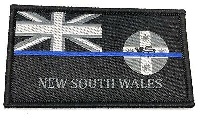 NSW Thin Blue Line, Woven Police Patch, State Flag, Hook Rear, TBL