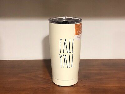 Rae Dunn By Magenta Stainless Steel FALL Y'ALL Black LL Ivory Tumbler