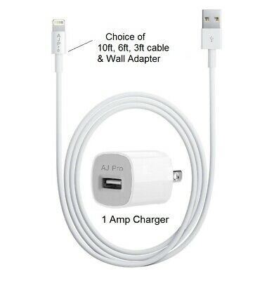 Home Wall Charger & 10ft, 6ft, 3ft Lightning USB Cord Cable OEM iPhone X/8/7/6