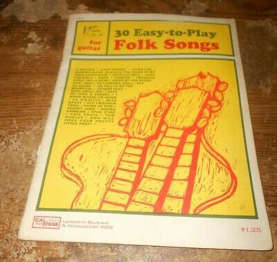 1964 cal press 30 easy-to-play folk songs guitar book used