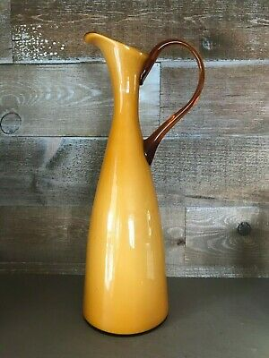 Mid Century Empoli Handblown Butterscotch Cased Glass Pitcher with Amber Handle