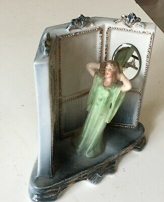 Rare antique German half doll, figurine, fairing, lady, tri mirror  6428
