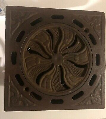 "antique cast iron vent heat grate adjustable circular 9"" pipe register stove"