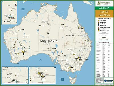 Top 100 Gold Mines of Australia 1100 x 850mm BMA Laminated Wall Map