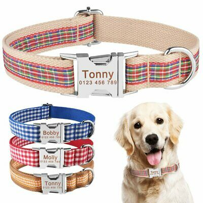 Small Large Fabric Personalized Dog Collar Custom Engraved ID Name Tag Puppy Pet