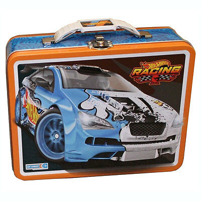 HOT WHEELS CARS Kids Boys Metal Tin Lunch Box CARRY ALL Case Bag Collectible BK