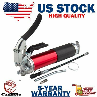 """14oz 6000 PSI Pistol Grip Style Grease Gun with 12"""" Flex Hose and a 5-1/2 Metal"""