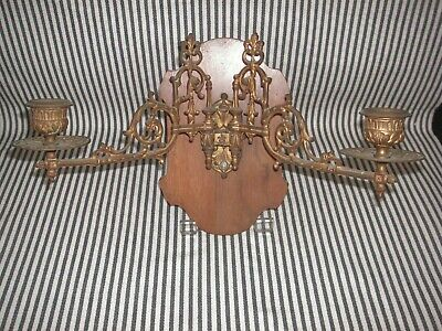 Vintage Antique Victorian Double Swival Arm Wall Sconce Candelabra Brass Wood