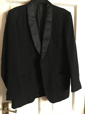 Mens Black Dinner Jacket by Hepworths (Hardy Amies) Satin Collar Size 38 Chest