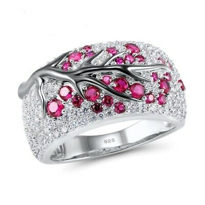 925 Silver  Plated White Topaz Men and Women Ring Wedding Jewelry Gift Size 6-10