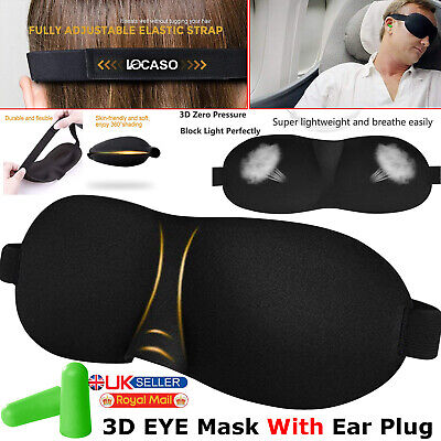 Sleep 3D Eye Mask + Free Ear Plugs Travel Sleeping Rest Aid Shade Cover Relax UK