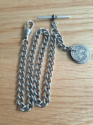1884 Victorian 3D & 6D Coin Fob Antique Silver Style Single Pocket Watch Chain