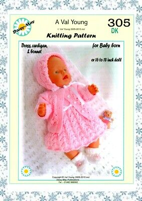 """DOLLS KNITTING PATTERN no 305 for BABY BORN or 15""""/17"""" or similar doll."""