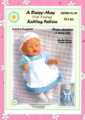 DOLLS KNITTING PATTERN  for BABY BORN or 16/17ins doll No 278 - (Val Young)