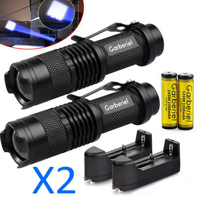 2 Sets Tactical Outdoor 50000LM ZOOM T6 LED Flashlight Torch Lanterns Light Lamp
