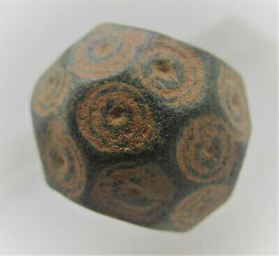 Ancient Byzantine Bronze Polygonal Solidus Weight With Ring And Dot Motifs