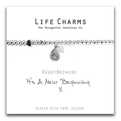 Life Charms /'New Beginning/' Silver Plated Bracelet Free Gift Box