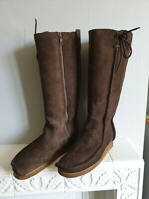 Clarkes Womens Genuine Sede Leather Mid calf Boots Chocolate Brown Size UK 6
