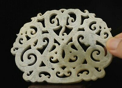 Chinese old natural jade hand-carved dragon pendant 4 inch