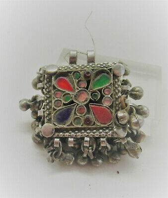 Beautiful Late Medieval Islamic Ottomans Silver Pendant With Stones