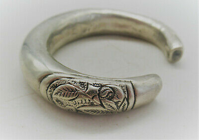 Lovely Antique Chinese Decorated Silver Bangle