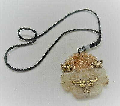 Superb Antique Chinese Jade Carved Pendant With Gold Gilding