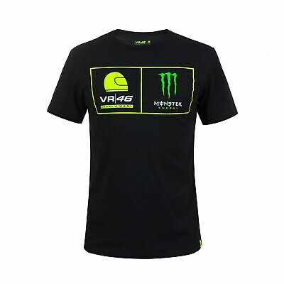 2018 VR46 Valentino Rossi #46 MotoGP Mens T-Shirt Dual Black Monster Energy Logo