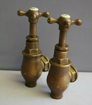 Original Patina Brass Globe Taps Reclaimed Fully Refurbished Old Heavy Weight