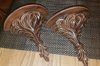 PAIR Of  Pretty VTG MID CENTURY Brown Ceramic ACANTHUS LEAF Corbel Wall Shelves!
