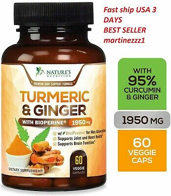 Tumeric Curcumin Ginger Max Potency Bioperine Black Pepper Dietary Supplements