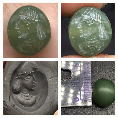 Beautifull Old Nephrite Stone Roman King Face Intaglio Stamp Bead