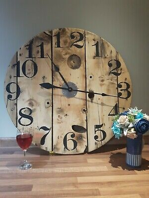 Large Rustic Wooden Wall Clock Made From Reclaimed Cable Reel