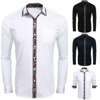 Manica lunga uomo stampa Patchwork Slim Fit Casual camicia Button Down